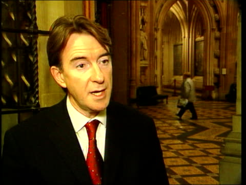 stockvideo's en b-roll-footage met peter mandelson mp interview sot talks of linking extra taxation with serious improvements in public services - peter mandelson