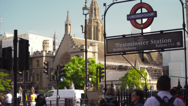 westminster station underground entrance - entrance sign stock videos & royalty-free footage