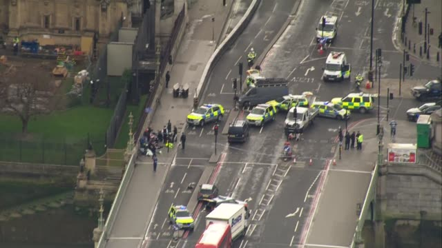 aerial views Westminster terror attack aerial views AIR VIEWS / AERIALS police and paramedics attending to terrorist attack victims on Westminster...