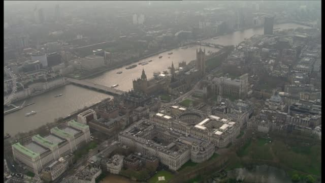air views of morning after attack westminster terror attack air views of morning after attack air views / aerials whitehall and parliament square /... - victoria tower stock-videos und b-roll-filmmaterial