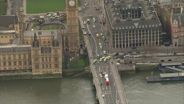 Five dead and at least 40 injured AIR VIEW Police vehicles blocking roads around Westminster Bridge following terror attack