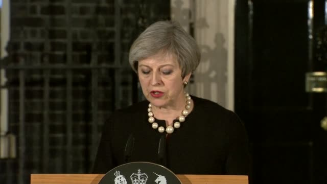 five dead and at least 40 injured england london downing street theresa may mp press conference sot i have just chaired a meeting of cobra following... - reminder stock videos and b-roll footage