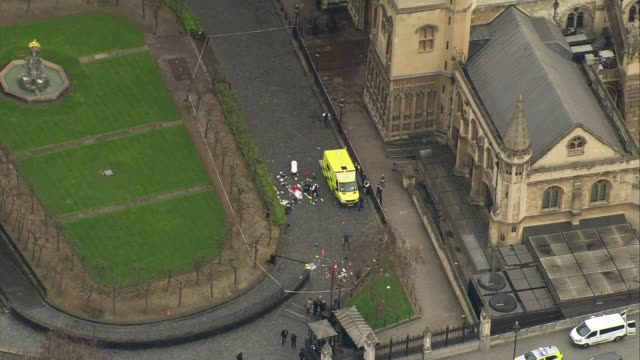 Khalid Masood named as attacker / police investigation 2232017 AIR VIEW / AERIAL ambulance and medical equipment debris in Houses of Parliament New...