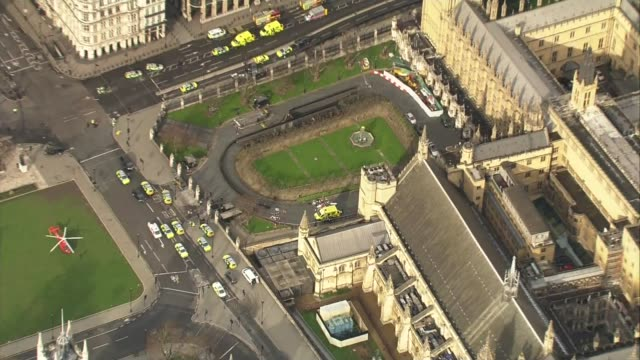 Khalid Masood named as attacker / police investigation 2232017 VIEWS / AERIAL ambulance and medical equipment debris in Houses of Parliament New...