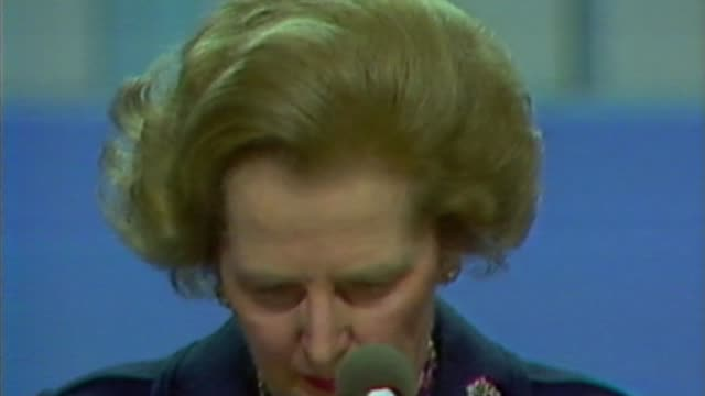 look back at historic attacks on Parliament LIB / T121084001 ENGLAND West Sussex Brighton INT Margaret Thatcher MP speech to Conservative Party...