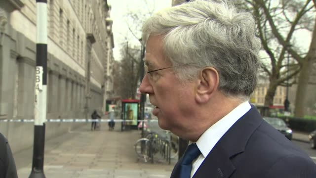 tributes paid to victims westminster ext michael fallon mp speaking to press sot paliament will be going back to work this monring like any other... - thursday stock videos and b-roll footage