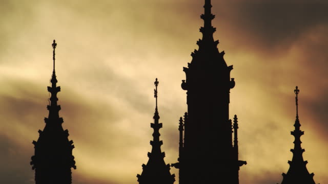 westminster towers at sunset - palace stock videos & royalty-free footage