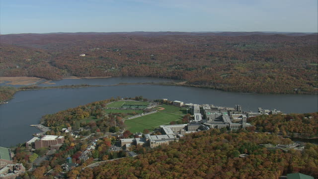 aerial westpoint military academy along the hudson river / new york, united states - west point new york stock videos & royalty-free footage