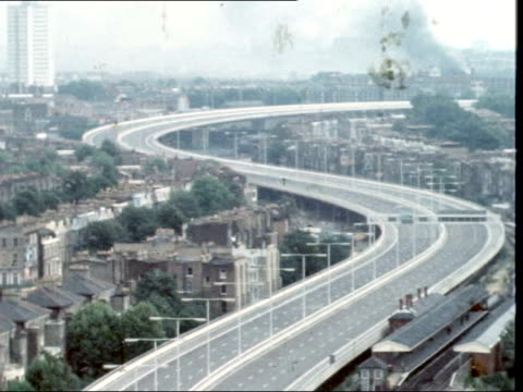 westway extension opened; a) promotion england: london: between white city and paddington: ext track along motorway col ekt: 16mm; itn: 8sec: 5ft: tx... - motorway stock videos & royalty-free footage