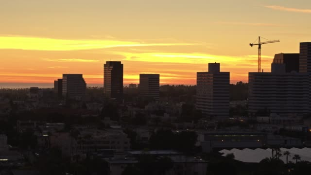 westwood at sunset - aerial - westwood neighborhood los angeles stock videos & royalty-free footage
