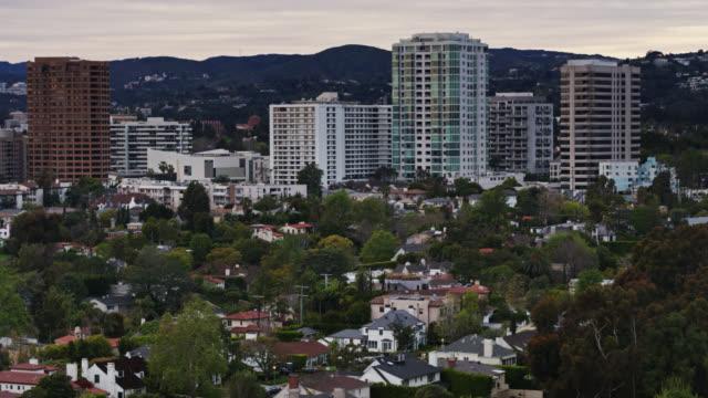 westwood, los angeles at dusk - aerial view - westwood neighborhood los angeles stock videos & royalty-free footage