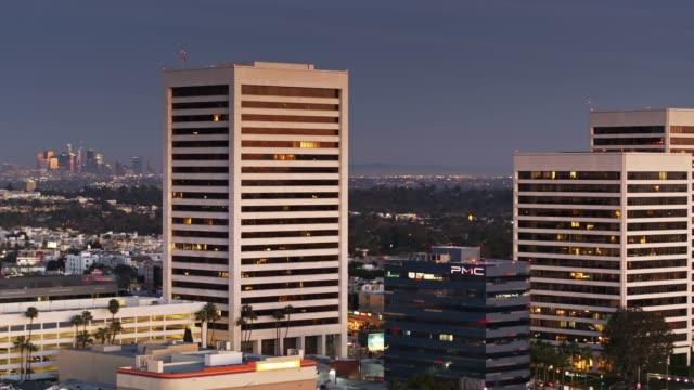 westwood, los angeles at twilight - aerial - westwood neighborhood los angeles stock videos & royalty-free footage