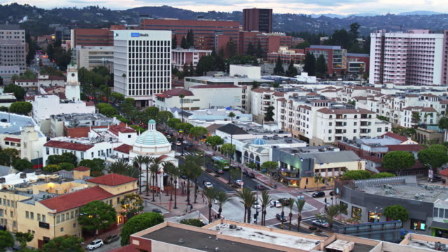 westwood village and ucla - drone shot - westwood neighborhood los angeles stock videos & royalty-free footage