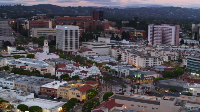 Westwood Village at Dusk - Drone Shot