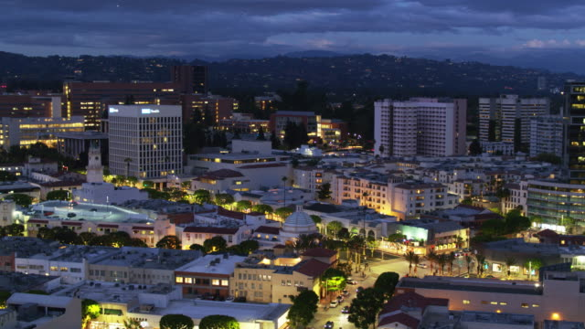 Westwood Village at Twilight - Drone Shot