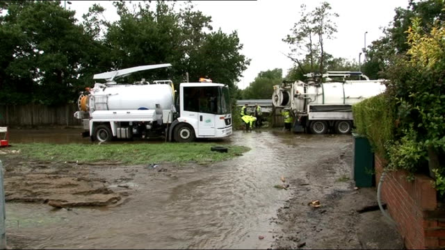 water tankers clearing up floodwater - august stock videos & royalty-free footage