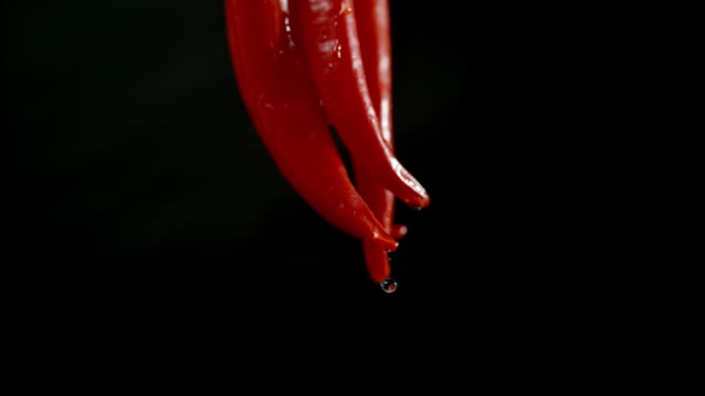 slo mo wet chillies - peperone video stock e b–roll