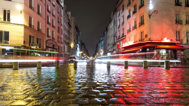 Wet Cobblestones on Rainy Paris Night - Time Lapse