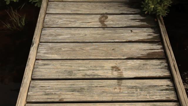 MS HA Wet footprints on wooden dock, Ashburnham, Massachusetts, USA