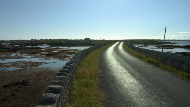 a wet road beside a stone wall through wetlands - drainage stock videos & royalty-free footage
