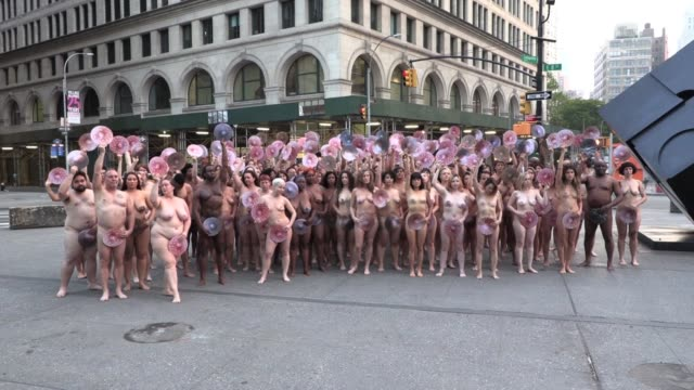 #wethenipple protest 125 nudes participate in art action outside facebook headquarters at dawn #wethenipple protesting facebook and instagram policy... - naked stock videos & royalty-free footage