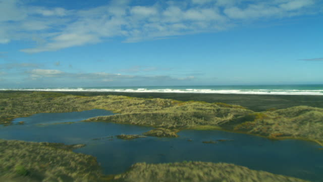 aerial wetlands and ocean, auckland, new zealand - auckland stock videos & royalty-free footage