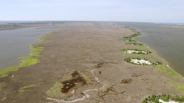 WS AERIAL POV Wetlands over Roanake island / Roanoke Island, North Carolina, United States