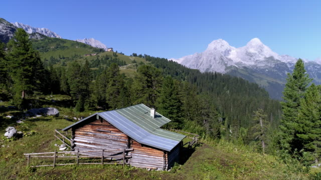 wetterstein mountains and king's house on schachen in bavaria - shack stock videos & royalty-free footage