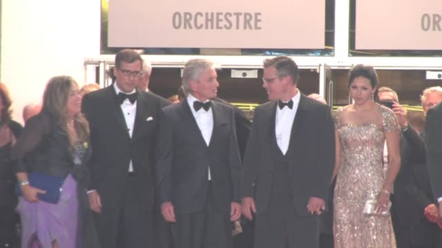 We've spotted the 'Liberace' Crew Michael Douglas Matt Damon Steven Soderbergh exit through the red carpet in Cannes Cannes France May 21st 2013