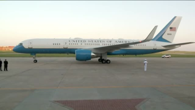 WGNAir Force One Makes A Turn On Airport Apron At Tinker Air Force Base on July 15 2015 in Oklahoma City Oklahoma