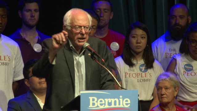 wgnbernie sanders talks about the inability for politicians to create change at park west on august 17 2015 in chicago illinois - socialism stock videos & royalty-free footage