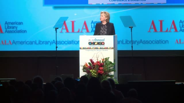 wgnhillary clinton on her upcoming book on 2016 election being a woman running for president being resilient at the american library association... - 図書館員点の映像素材/bロール