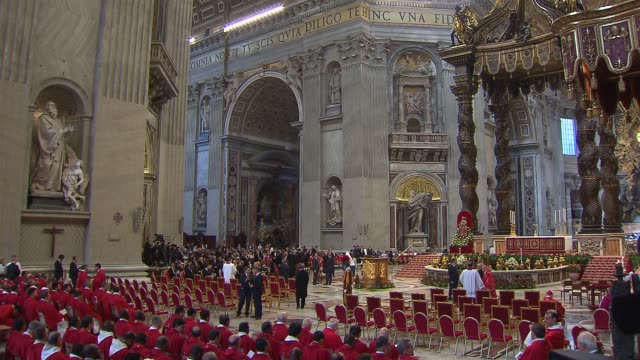 wgnpope francis celebrated mass for the feast of saints peter and paul in st peter's basilica during the mass the pope blessed the pallium which is a... - cardinal clergy stock videos and b-roll footage