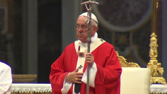 pope francis celebrated mass for the feast of saints peter and paul in st. peter's basilica. during the mass, the pope blessed the pallium, which is... - pope stock videos & royalty-free footage