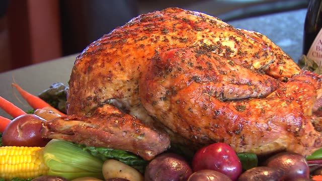 whole roasted chicken vegetables on a platter at pinstripes in chicago on nov 20 2014 - thanksgiving plate stock videos & royalty-free footage