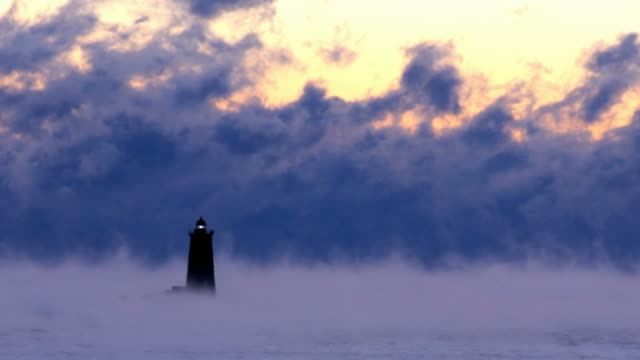 Whaleback Light In Arctic Sea Smoke
