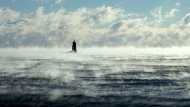 whaleback light in arctic sea smoke - condensation stock videos & royalty-free footage