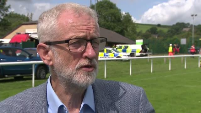 whaley bridge dam evacuation: jeremy corbyn interview; england: derbyshire: whaley bridge: ext jeremy corbyn mp interview sot. - derbyshire stock videos & royalty-free footage