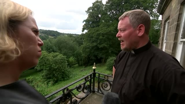 Some residents refusing to evacuate town UK Whaley Bridge Father Jamie Macleod interview helicopter carrying sandbags church statues Duncan Fife...