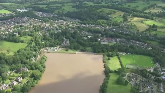Thousands evacuated from town as dam at risk of bursting ENGLAND Derbyshire Whaley Bridge various shots of long and wide views of dam