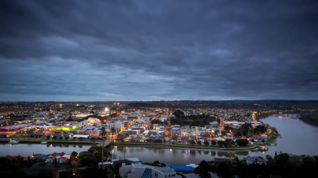 whanganui cityscape - time lapse - waterfront stock videos & royalty-free footage