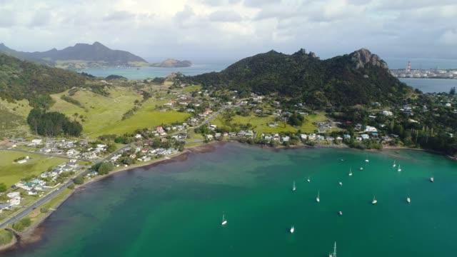 whangarei heads marina overlooking mt aubrey. - vista marina stock videos & royalty-free footage