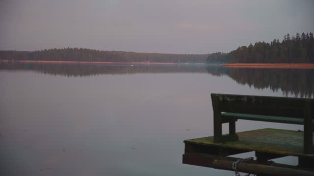 wharf and bench at dark and moody baltic sea - last stock videos & royalty-free footage