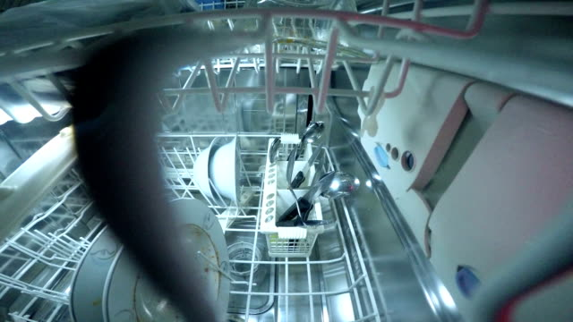 what happening inside the dishwasher - dishwasher stock videos & royalty-free footage