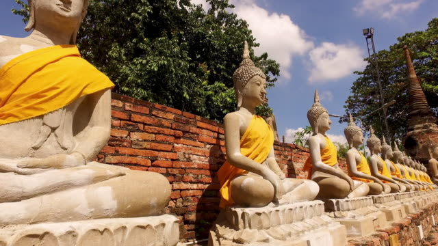 wat yai chai mongkhon in ayutthaya - thailand stock videos & royalty-free footage