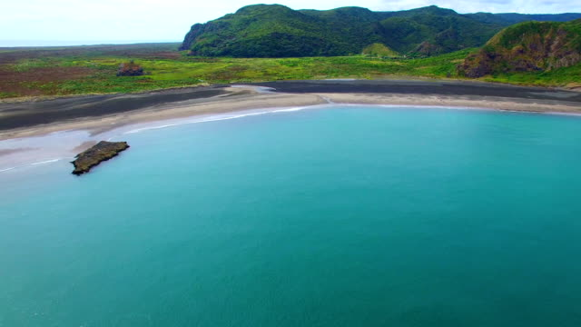 whatipu beach aerial footage - bay of water stock videos & royalty-free footage