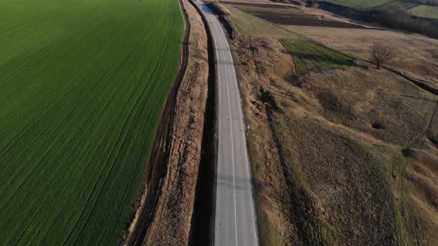 小麦畑。穀物畑を植えた。緑のフィールドの空中ショット。大規模な産業農業。小麦畑の上の美しい晴れた天気と夕日 - 穀物 ライムギ点の映像素材/bロール