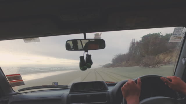4 wheel drive Point of view at beach.