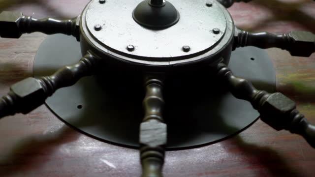 Wheel helm of vintage ship