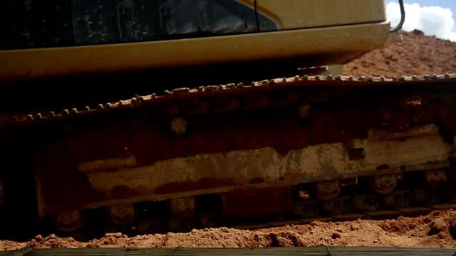 Wheel of Excavators machine in construction site